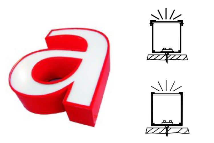 Leuchtbuchstaben Profil 4 nach vorn leuchtend