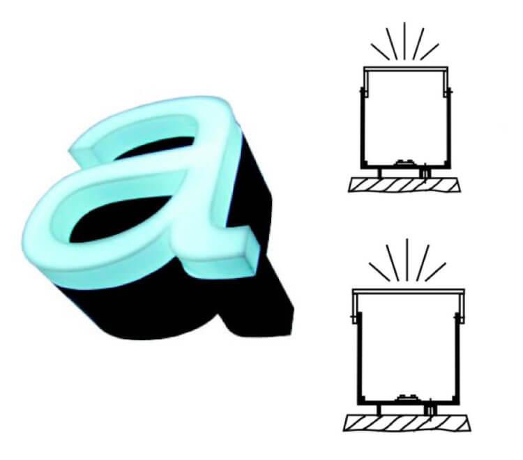Leuchtbuchstaben Profil 9 a/b nach vorn leuchtend