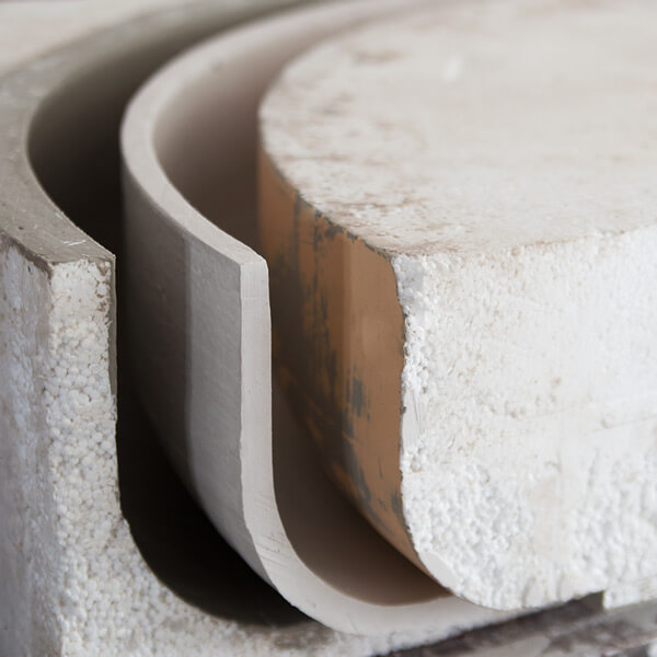 beschichtete Styropor-Form für ein Bauteil